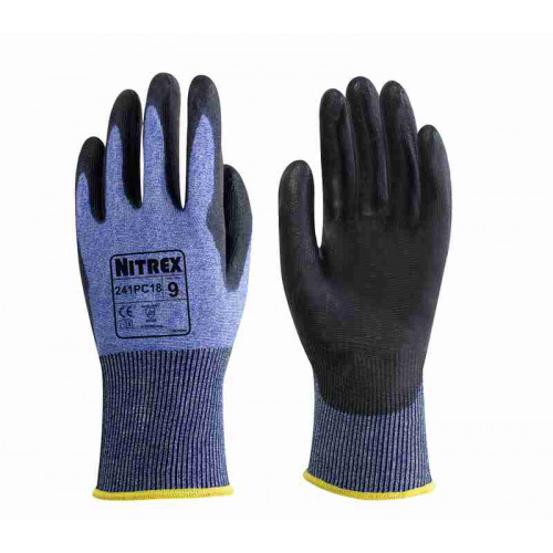 Nitrex 241PC18 - PU Palm Coated Gloves - 18 Gauge Cut Resistant Gloves Level C - Equiv Level 5 - Ultra Light Weight - In Bags of 10 Pairs