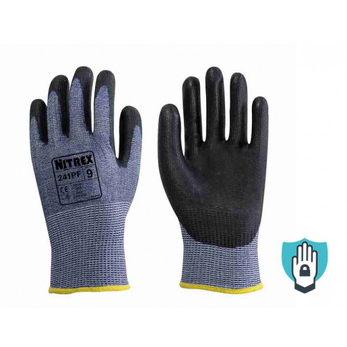 Nitrex 241PF - PU Cut Resistant Gloves - Level F Cut Protection - Equiv level 5 cut resistant gloves - NitreGuard Technology - In Bags of 10 Pairs
