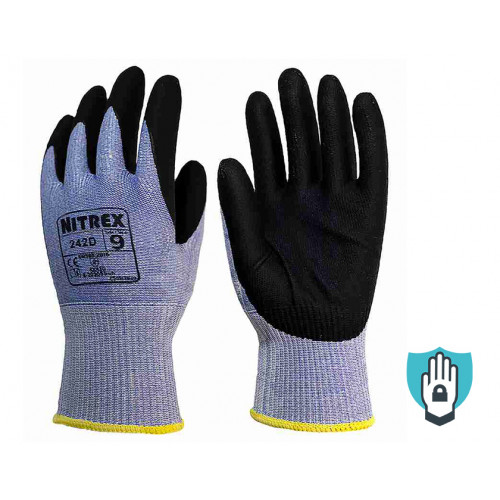 Nitrex 242D - Foam Nitrile/PU Touch Screen Hydrophobic Work Gloves - Level D Cut Protection - NitreGuard Technology - In Bags of 10 Pairs