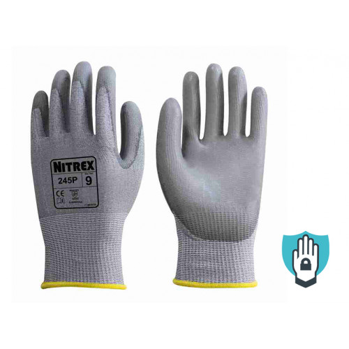 Nitrex 245P - PU Palm Coated Safety Gloves - Level D Cut Protection - Equiv Cut Level 5 - NitreGuard Technology - In Bags of 10 Pairs
