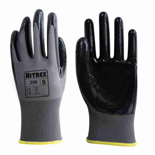 Nitrex 250 - Palm Coated Nitrile Gloves - High dexterity & Grip  - In Bags of 10 Pairs