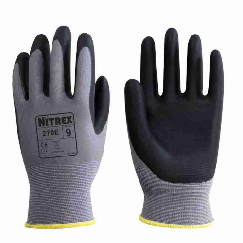 Nitrex 270E - Foam Nitrile Palm Coated Gloves - Maximum Dry, Wet & Oil Grip - In Bags of 10 Pairs