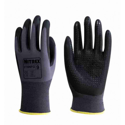 Nitrex 270NFG - Grey Black Gloves with Grip Dots - Foam Nitrile Palm Coated - Flex Grip Work Gloves - In Bags of 10 Pairs