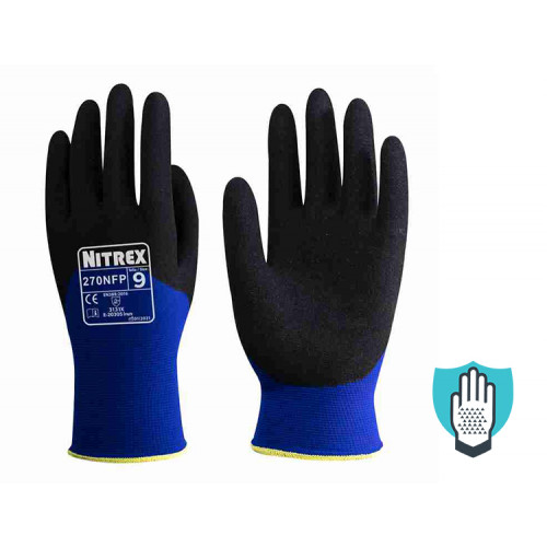 Nitrex 270NFP - Sandy Nitrile 3/4 Coated - Firm Grip Gloves - Abrasion Resistant - NitreGrip Technology - In Bags of 10 Pairs