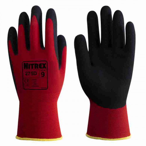 Nitrex 275D - Foam Latex Palm Coated Work Gloves - Seamless Nylon/Spandex Liner - Wet & Dry Grip - In Bags of 10 Pairs