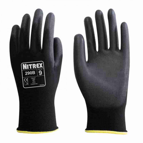 Nitrex 290B - Black PU Palm Coated Gloves - High Dexterity, Abrasion & Tear Protection - In Bags of 10 Pairs