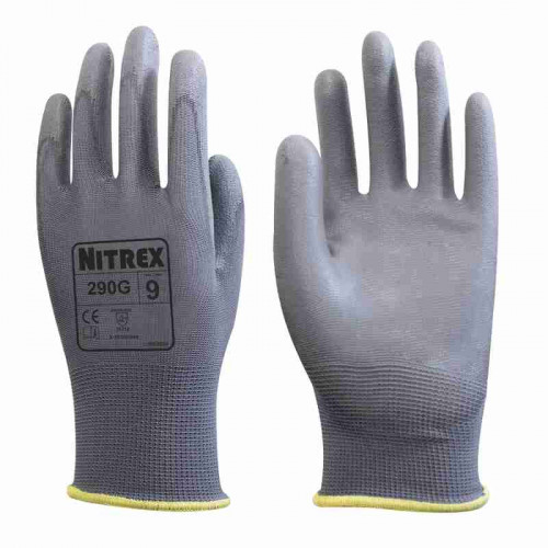Nitrex 290G - Grey PU Palm Coated Gloves - High Dexterity, Abrasion & Tear Protection - In Bags of 10 Pairs