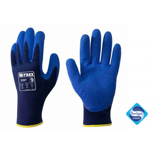 Nitrex 299T - Latex Coated Fleece Lined Work Gloves - Thermal for Extreme Cold - Secure Fit Wet & Dry Grip - Sanitized® Actifresh - In Bags of 10Pairs