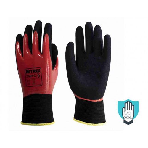 Nitrex 360FC - Sandy Nitrile Coated Seamless Gloves - Double Dipped - NitreGrip Technology - In Bags of 10 Pairs