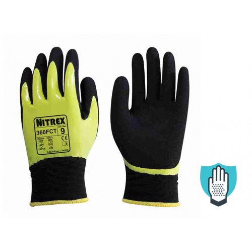 Nitrex 360FCT - Hi-Viz Firm Grip Thermal Work Gloves - Moisture Protection - Abrasion & Tear Protection - NitreGuard Technology - In Bags of 10 Pairs