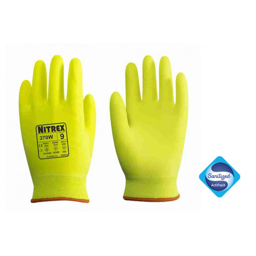 Nitrex 370W - Hi Viz Premium Thermal Work Gloves - Fully Coated Foam Nitrile - Cold & Heat Protection - Sanitized® Actifresh - In Bags of 10 Pairs