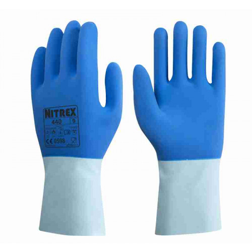 Nitrex 440 - Latex Heavy Duty Chemical Resistant Gloves - Heat Resistant up to 250°C - Moisture Wicking Cotton Liner - In Bags of 10 Pairs