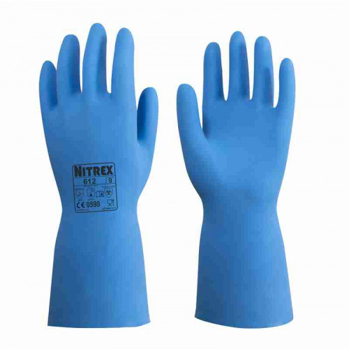 Nitrex 612 - Long Chemical Gauntlet Gloves - Unlined - Food Safe - Abrasion Resistant - In Bags of 10 Pairs