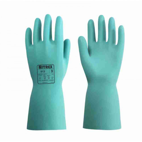 Nitrex 613 - Flock Lined Nitrile Gloves - Chemical Resistant - Food Safe - Abrasion Resistant - Wet Grip - In Bags of 10 Pairs