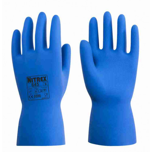 Nitrex 645 - Latex Flock Lined Rubber Gloves - Food Prep Safe - Slip Resistant Pattern on Palm - Chemical Resistant  - In Bags of 10 Pairs