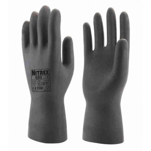 Nitrex 680 - Black Heavy Duty Chemical Gloves - Slip-Resistant Enhanced Grip - Food Safe - Dexterous - Flocked Rubber Gloves - In Bags of 10 Pairs