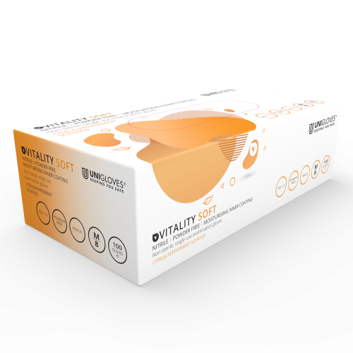Vitality Peach Citrus Nitrile Moisturising Gloves - Box
