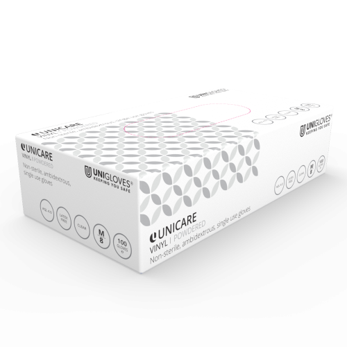 Unicare Powdered Clear Vinyl Gloves - Box