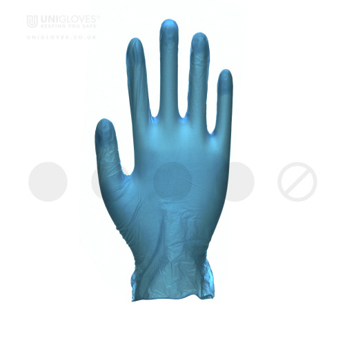 Unicare Powdered Blue Vinyl Gloves - Box