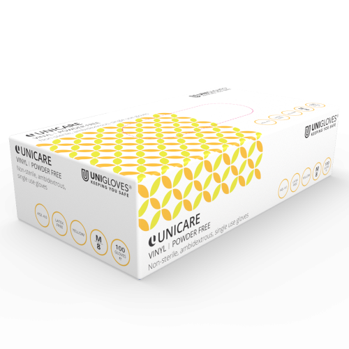 Unicare Yellow Vinyl Gloves - Box